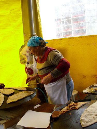 Woman making gözleme