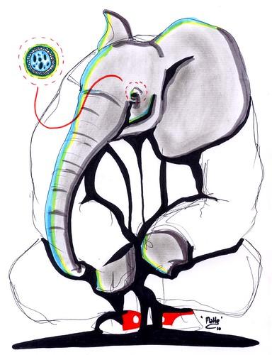 the elephant waiting for something