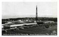 Northgate Shopping Center Seattle WA World's Tallest Christmas Tree (Edge and corner wear) Tags: seattle christmas bw tree retail architecture mall shopping design display outdoor postcard stores northgate retailing rppc