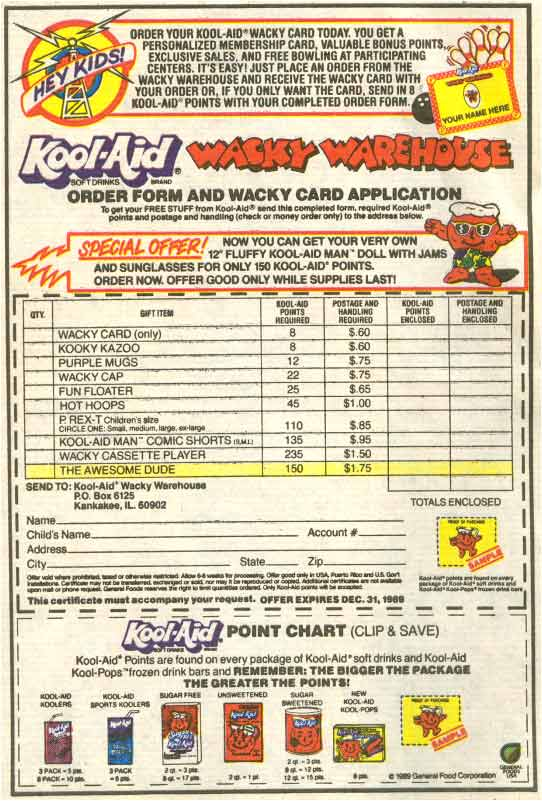 Wacky Warehouse order form