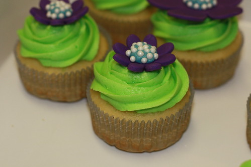 Vanilla Cupcake with Purple Coconut Fondant Flowers