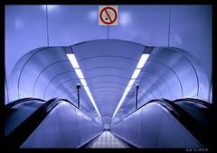 up and down (sediama (break)) Tags: blue stairs germany subway metro pentax ubahn townhall blau rathaus bochum rolltreppe movingstairs mywinners colorphotoaward k20d sediama kortumstr igp7735 ©bysediamaallrightsreserved