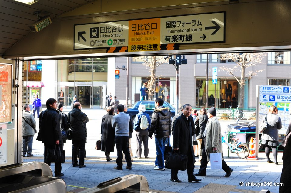 Coming out of the entrance from the JR Station at Yurakucho.