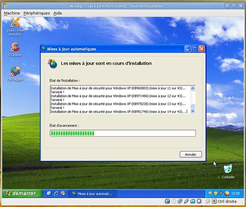 La première vague de mises à jour de Windows XP-SP3