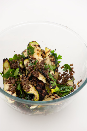 lentil salad with bbq zucchini