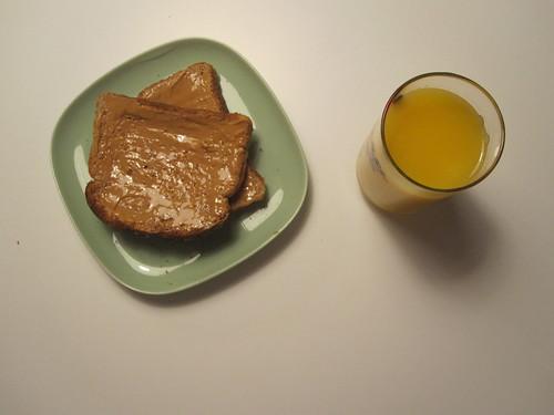 PB toasts, OJ