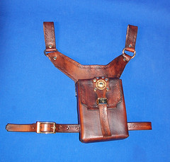 Low Slung Steampunk Pouch with Leg Strap (Nyghtbourne) Tags: leather gear steam pouch gears steampunk nyghtcraft nyghtcraftleatherwerks