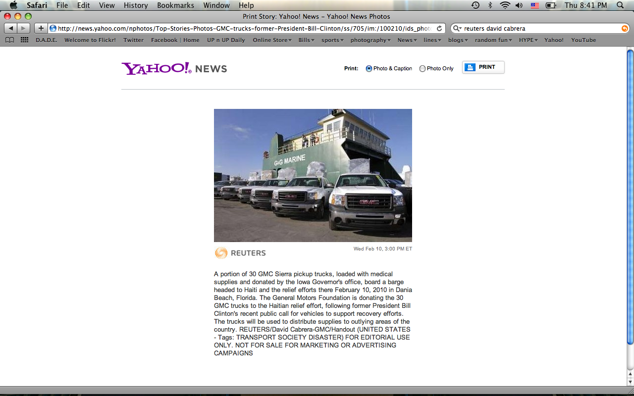 One of the pictures I took yesterday for GMC go published by Reuters, I found it on Yahoo! News.