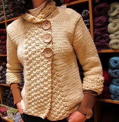 Anastasia modeling her new cardigan (sifis) Tags: art wool canon design sweater knitting pattern buttons knit athens yarn g