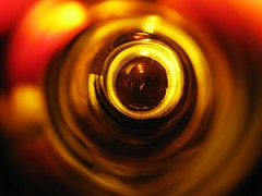 Beer Bottle (Stinchfield Photography) Tags: red brown abstract black beer yellow bottle circles bubbles budweiser
