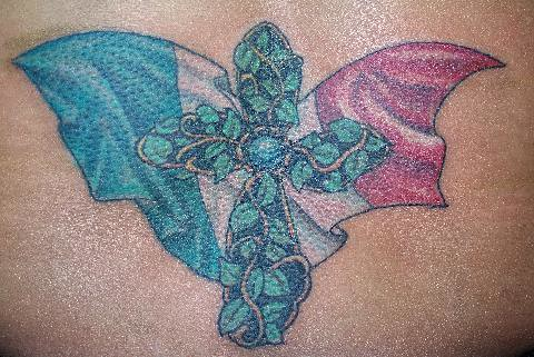 Cross of ivy and the Italian Flag tattoo