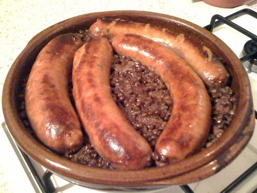 Puy lentils with chorizo sausages