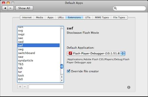 how to change default app osx