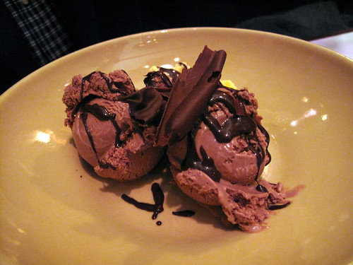 Dark and White Chocolate Ice Cream with Housemade Chocolate Sauce