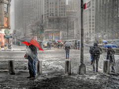 Broadway & 60th St., from the shelter of TW Center.     We'll miss this snow in a few months....ha ha!(from Feb 2010...) (JamesPolk) Tags: snowflake nyc red snow manhattan columbuscircle d300 3xp tamron1750mmf28 broadway60th