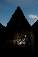 Waterperry Gardens hedge and bench lit woth one flash