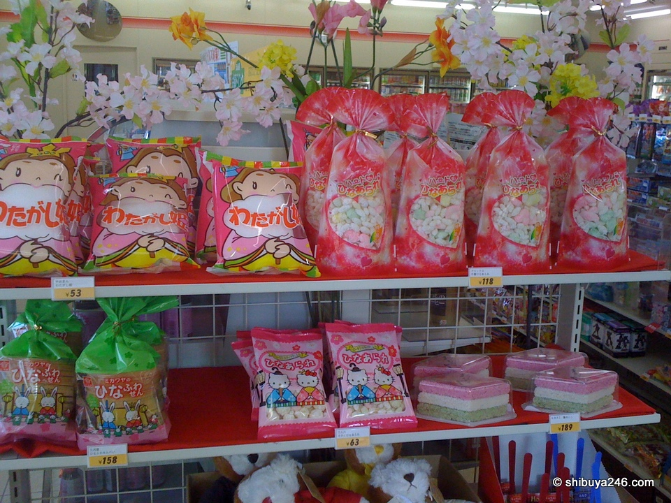 A few treats for the upcoming hina matsuri. cotton candy and sweets.