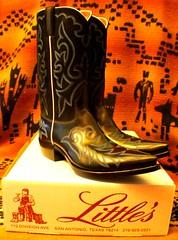 New Little's Boots! (Mr. David Rogerson) Tags: david black june dave boot cowboy san texas little jennifer sharon mexican cowgirl pascal antonio alamo littles picnik riff raff rogerson shitbird