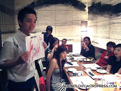 The cute manager (says Corrinne) giving an introduction to the menu