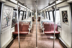 Empty (ep_jhu) Tags: red train wagon tren publictransportation metro empty silla seats dcist hdr vacio handrails ispy yellowline masstransportation