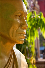 Face in Gold (Ursula in Aus (Away)) Tags: sculpture statue thailand gold buddhist monk buddhism carving abbot nongkhai    earthasia totallythailand wattungsawang