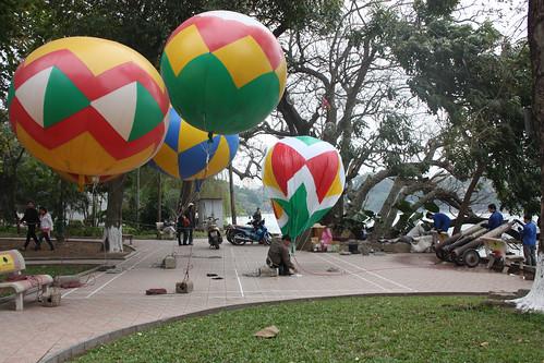 Balloons being blown up near Hoan Kiem Lake