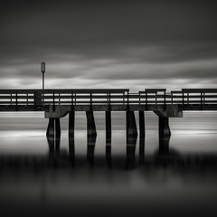 Pier: Study III (Jeff Gaydash) Tags: longexposure blackandwhite water square pier symmetry nd110