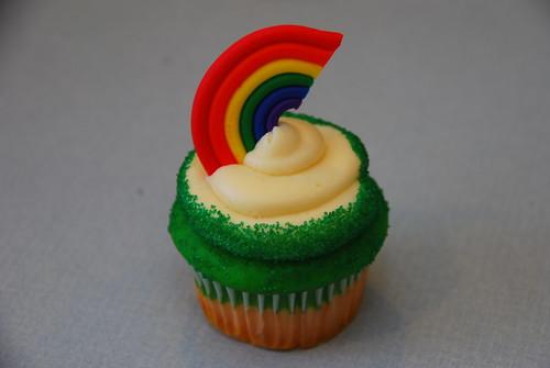 St Patrick's Day cupcake, Rainbow