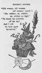 Old Woman in a Basket (katinthecupboard) Tags: moon basket broom cobwebs nurseryrhyme vintagechildrensbooks vintagechildrensillustrations womaninabasket