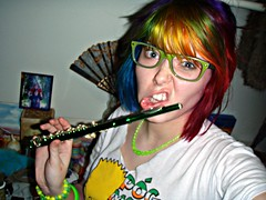 It's hard to play Piccolo with one hand... (Megan is me...) Tags: blue red portrait orange color green colors smile up fashion rose yellow shirt self hair effects photography one diy clothing crazy rainbow eyes colorful neon pretty colours russell mckay bright cut unique awesome meg bart violet plum megan style nuclear special clothes kind fishbowl together iguana jerome colored tied piccolo tee mayhem simpson punky striped bleached kissmyass dyed stpatricksday napalm 2010 sfx rosered megface pogmothon meganisme bleachednapalmorange greenpiccolo