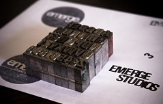 Letters (Emerge Studios) Tags: white black blur logo photography design brighton graphic stamp font letterpress emerge sony350 emergestudios