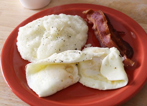 Overeasy Eggs with Grits and Bacon
