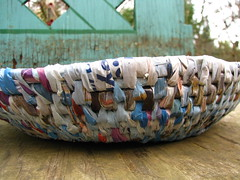 Disney basket (sarahracha) Tags: green spiral basket recycled woven coil weave plasticbags plarn
