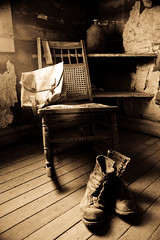 Everything In Its Right Place (Simple Insomnia) Tags: old abandoned sepia bag bed chair montana boots furniture room retro ghosttown garnet