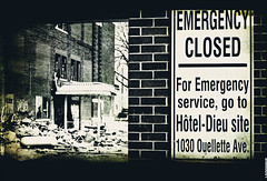 Emergency Closed (Linda Goodhue) Tags: blackandwhite hospital 50mm salvationarmy grace textures layers hdr exposures bracketing gracehospital tonemapped niftyfifty salvationarmygracehospital emergencyclosed lindagoodhuephotography