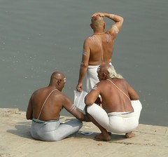 Holy Men at Varanasi,  Dhobi Ghat (Sekitar) Tags: shirtless india men river holy varanasi ganga ganges pradesh benares ghat uttar dhobi sekitar earthasia ©sekitar
