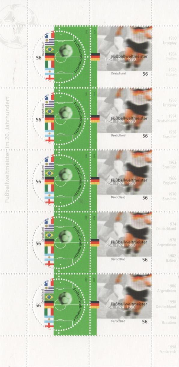 2002 Germania - Campioni di calcio del XX° secolo - minifoglio