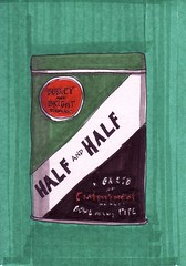 Half and Half Tobacco (Homemade Pop) Tags: art artwork artist folkart outsiderart folk originalart contemporary drawings pop popart homemade marker prints prismacolor foodart doodling 5x7 magicmarker foodpackaging pilotpen cheapart retroart brightart originalillustration quirkyart