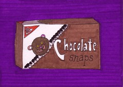 Chocolate Snaps Cookies (Homemade Pop) Tags: art artwork artist folkart outsiderart folk originalart contemporary drawings pop popart homemade marker prints prismacolor foodart doodling 5x7 magicmarker foodpackaging pilotpen cheapart retroart brightart originalillustration quirkyart