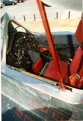 SR-71 Pilot's cockpit, instruments, stick, ejection seat (wbaiv) Tags: lockheed sr71 blackbird castle air museum open cockpit day 1998 pilot us force strategic reconnaissance cia usaf project oxcart a11 yf12 military aircraft usa airplane plane flying machine interior detail outdoor vehicle red