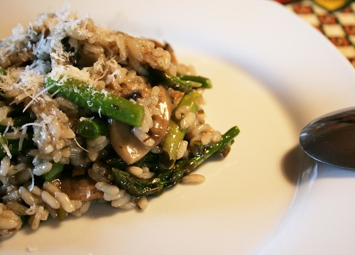 risotto w mushrooms & green asparagus