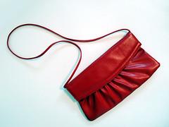 ruched purse (.godo) Tags: red crimson fashion vintage scarlet vegan vinyl retro purse 80s accessories etsy handbag tote pleather
