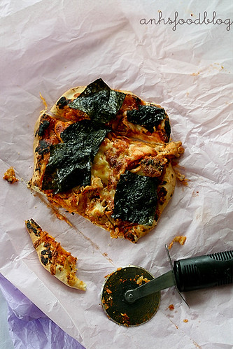 Chicken and kimchi pizza pie