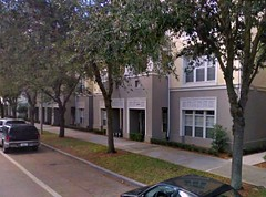 a residential street in Celebration, FL, parking to rear (via Google Earth)