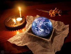 Happy Earth Day! (jrtce1) Tags: composition photoshop table globe candle earth space surreal nasa astronauts photograph gift planet candlelight outerspace apollo symbolism earthday apollo11 spacephotography happyearthday exploreworthy jrtce1 surrealspaceart earthday40thanniversary earthcolorphoto earthphotograph