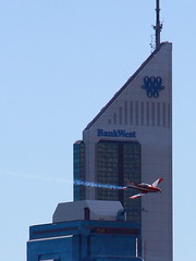 RedBull Plane passes Bank West tower (Ianmoran1970) Tags: red west plane canon bank bull redbull 18200mm 50d bankwest ianmoran ianmoran1970