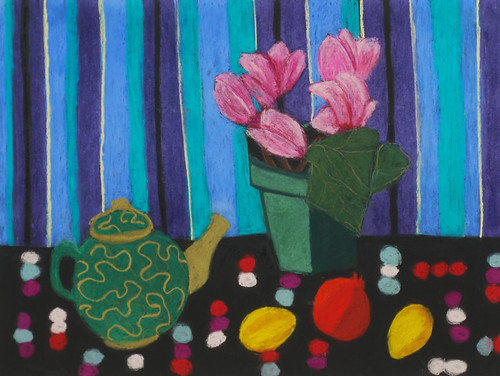 "Cyclamen With Decorative Teapot and Polka Dot Cloth - pastel on paper 22"" x 30"" $1100"