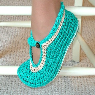 Mary Janes slippers Crochet Pattern