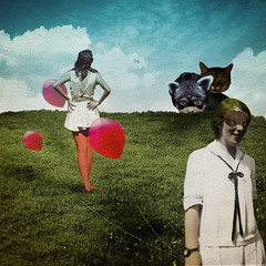 A shadow in the sky (Lys Lydia) Tags: art girl animal lady illustration cat vintage mask circus ballon dessin retro fox montage imagination masked mad lys personnes rve surralisme cauchemar surraliste personnages imaginaire chimres redballon cratures lydiaselimalhigazi conceptualisme