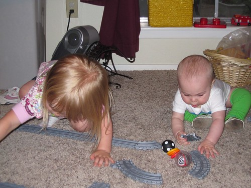 Cousin Natali & Asher play trains